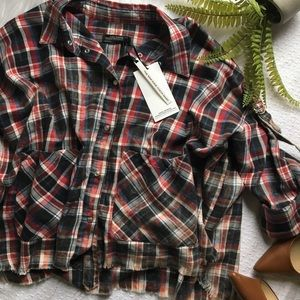 Zara woman raw edge check plaid shirt